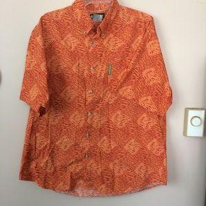 Columbia   Orange Fish Print Shirt sz Large